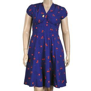 eShakti Cherry Print Fit & Flare Dress